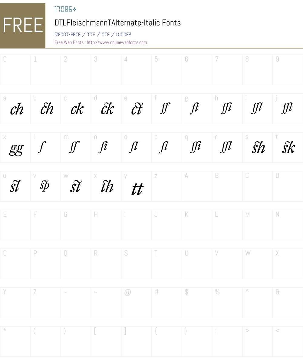 DTLFleischmannTAlternate Font Screenshots