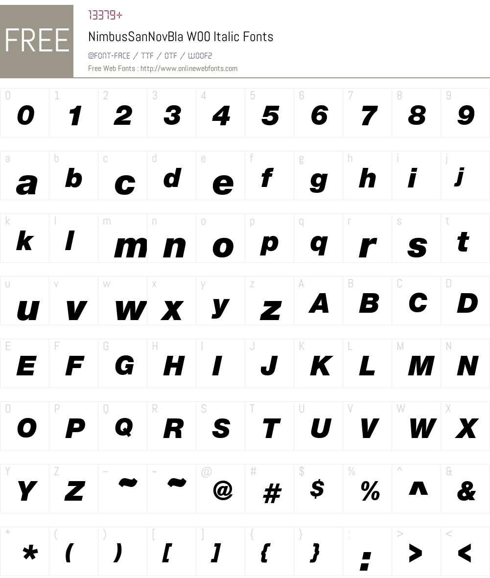 NimbusSanNovBlaW00-Italic Font Screenshots