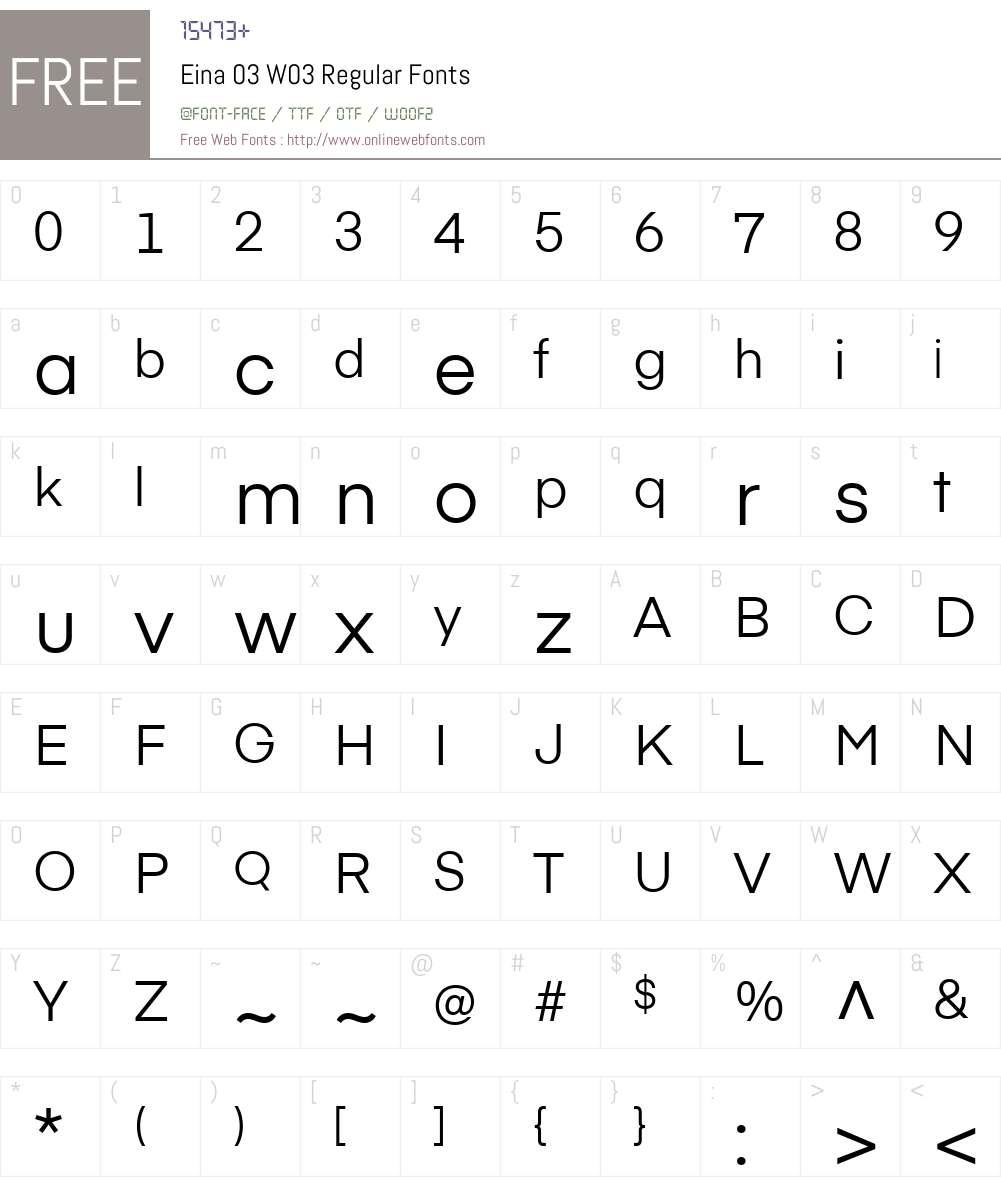 Eina03W03-Regular Font Screenshots