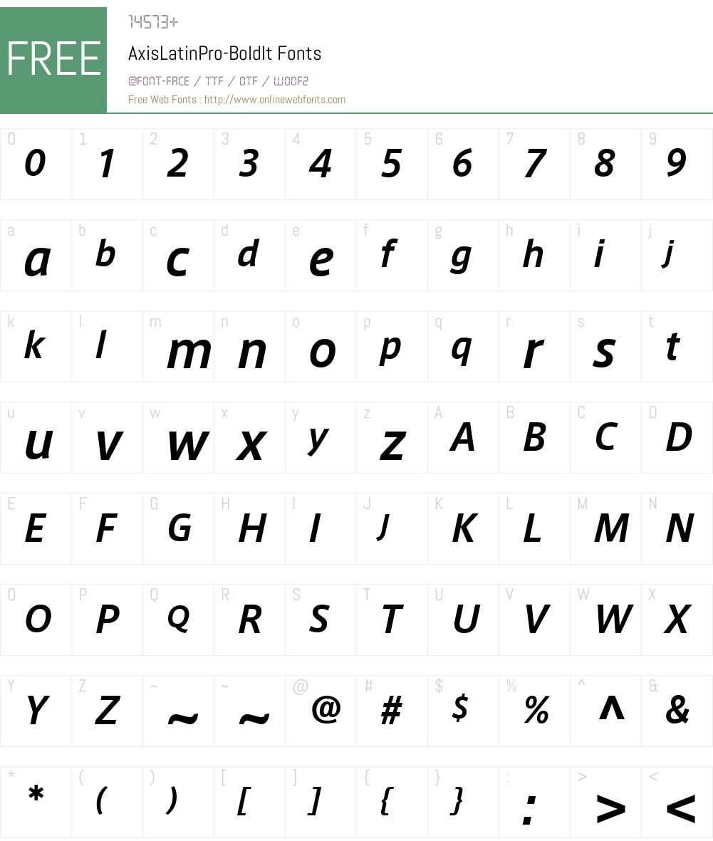 AxisLatinPro-BoldIt Font Screenshots