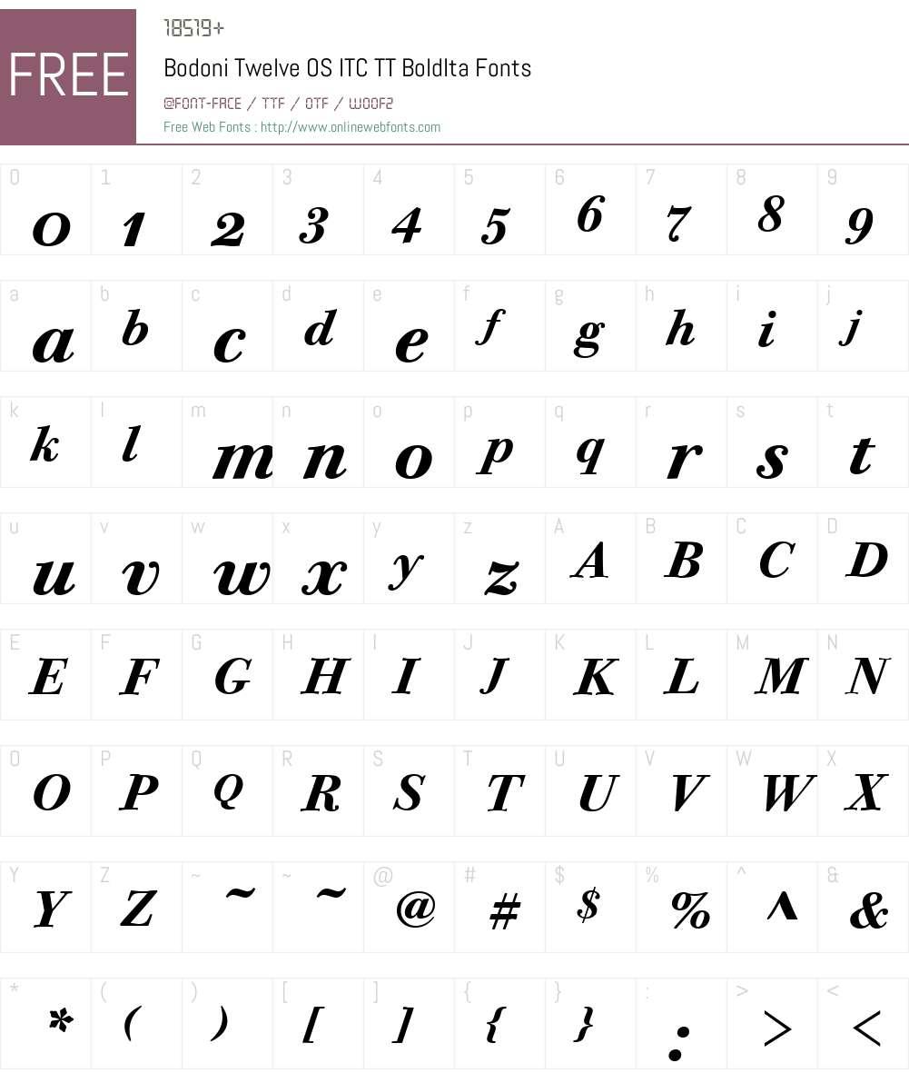 Bodoni Twelve OS ITC TT Font Screenshots