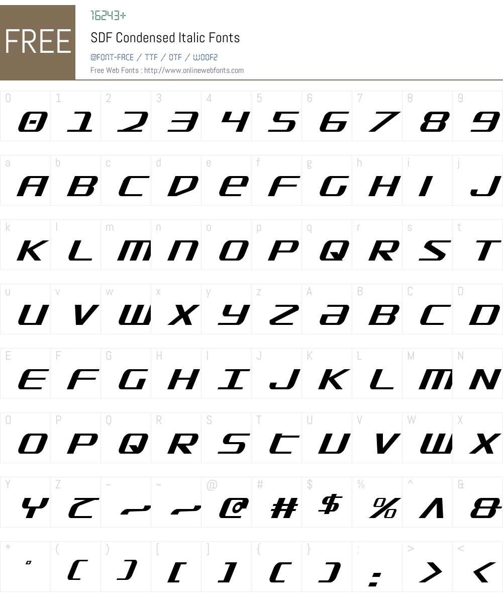 SDF Condensed Italic Font Screenshots