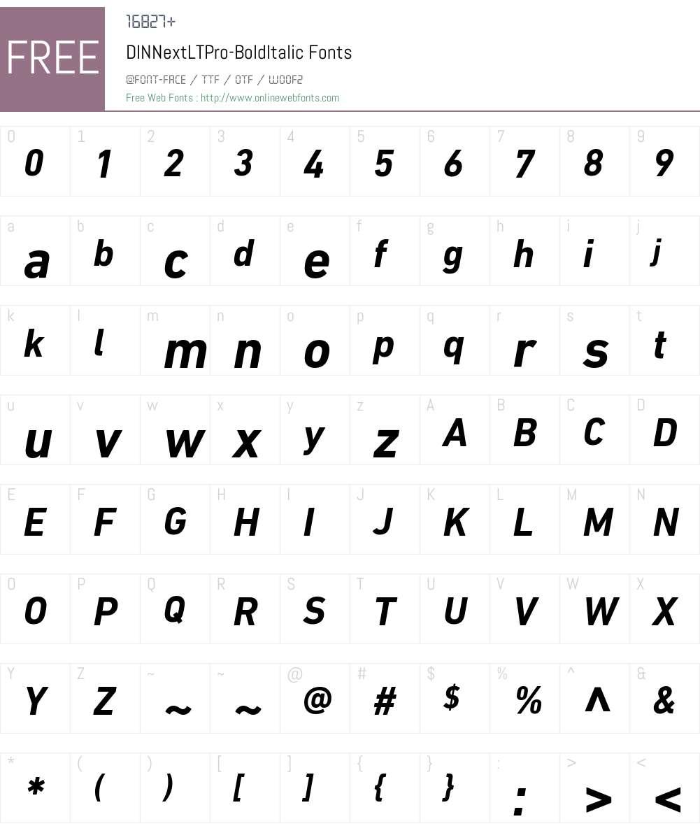 DIN Next LT Pro Bold Italic Font Screenshots