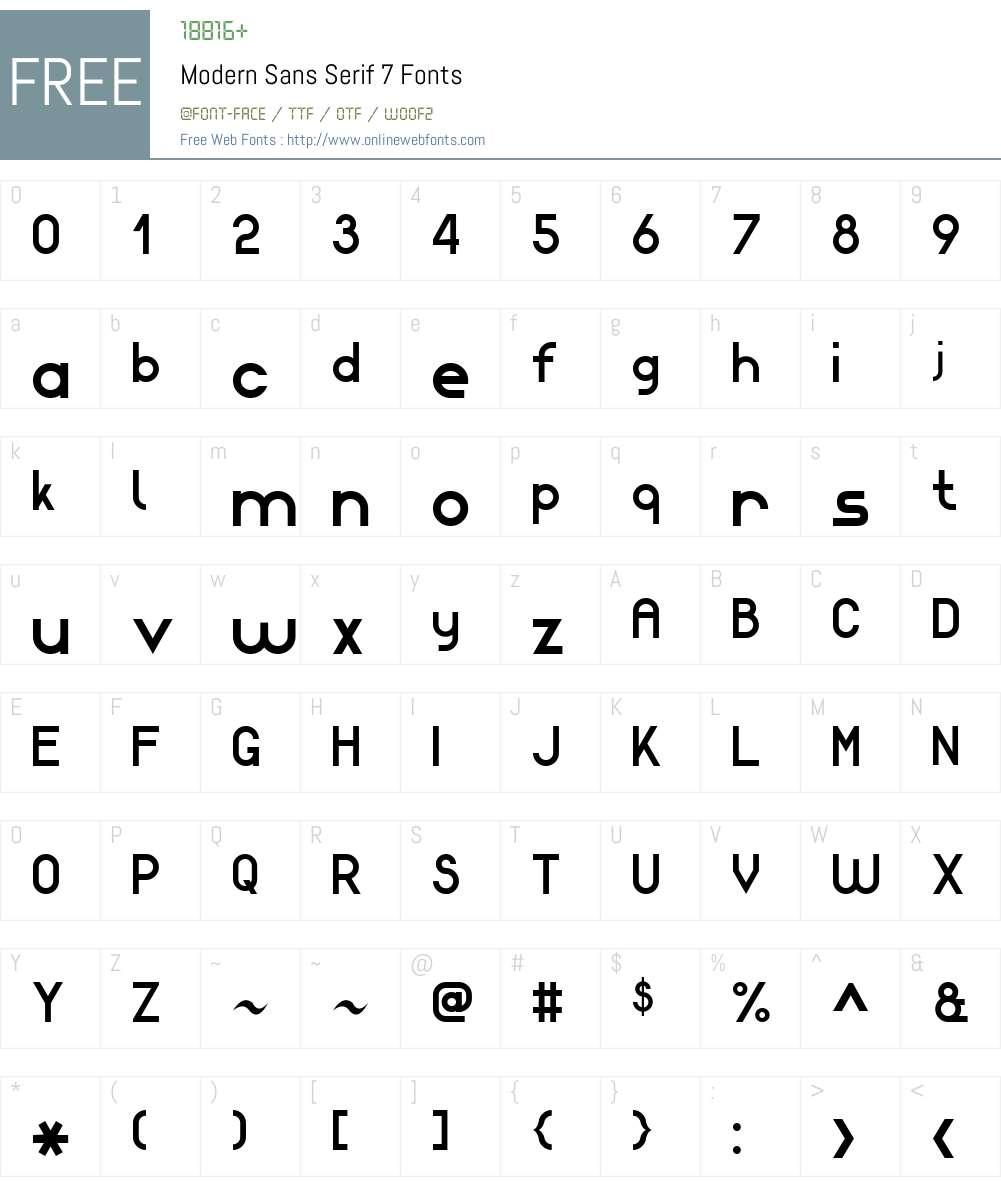 Modern Sans Serif 7 Font Screenshots