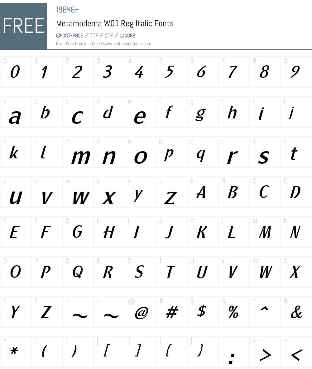 MetamodernaW01-RegItalic Font Screenshots