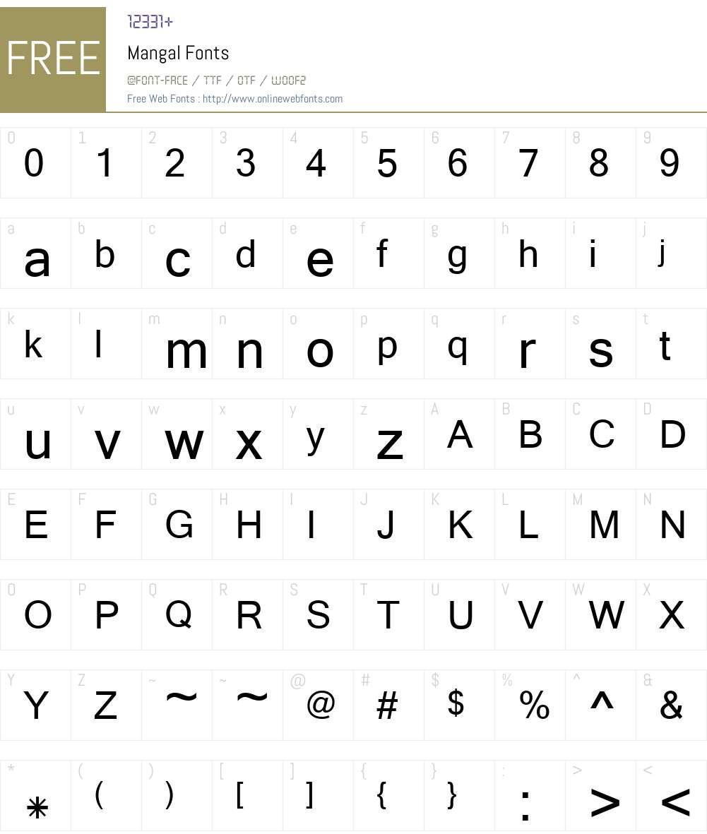 Mangal Font Screenshots