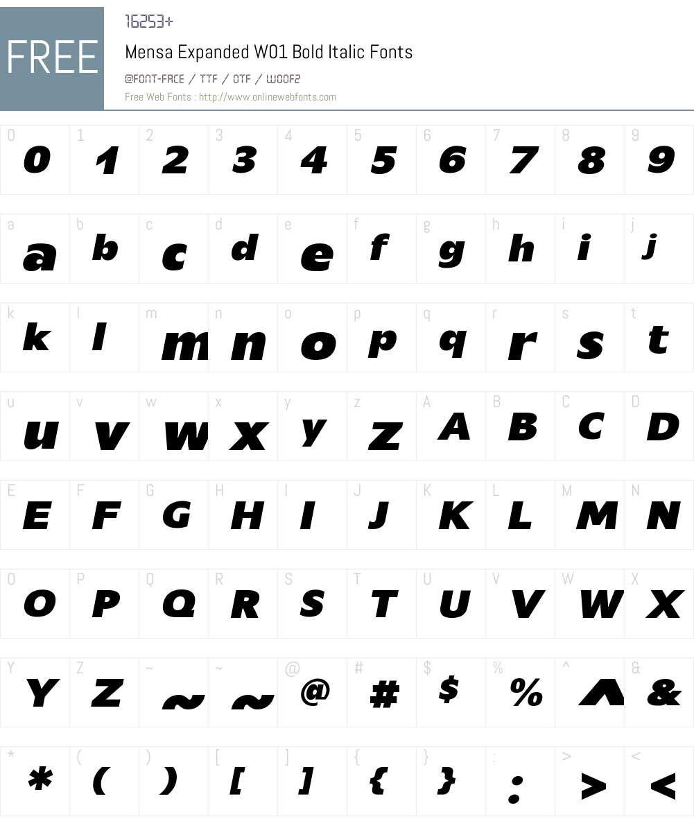 MensaExpandedW01-BoldItalic Font Screenshots