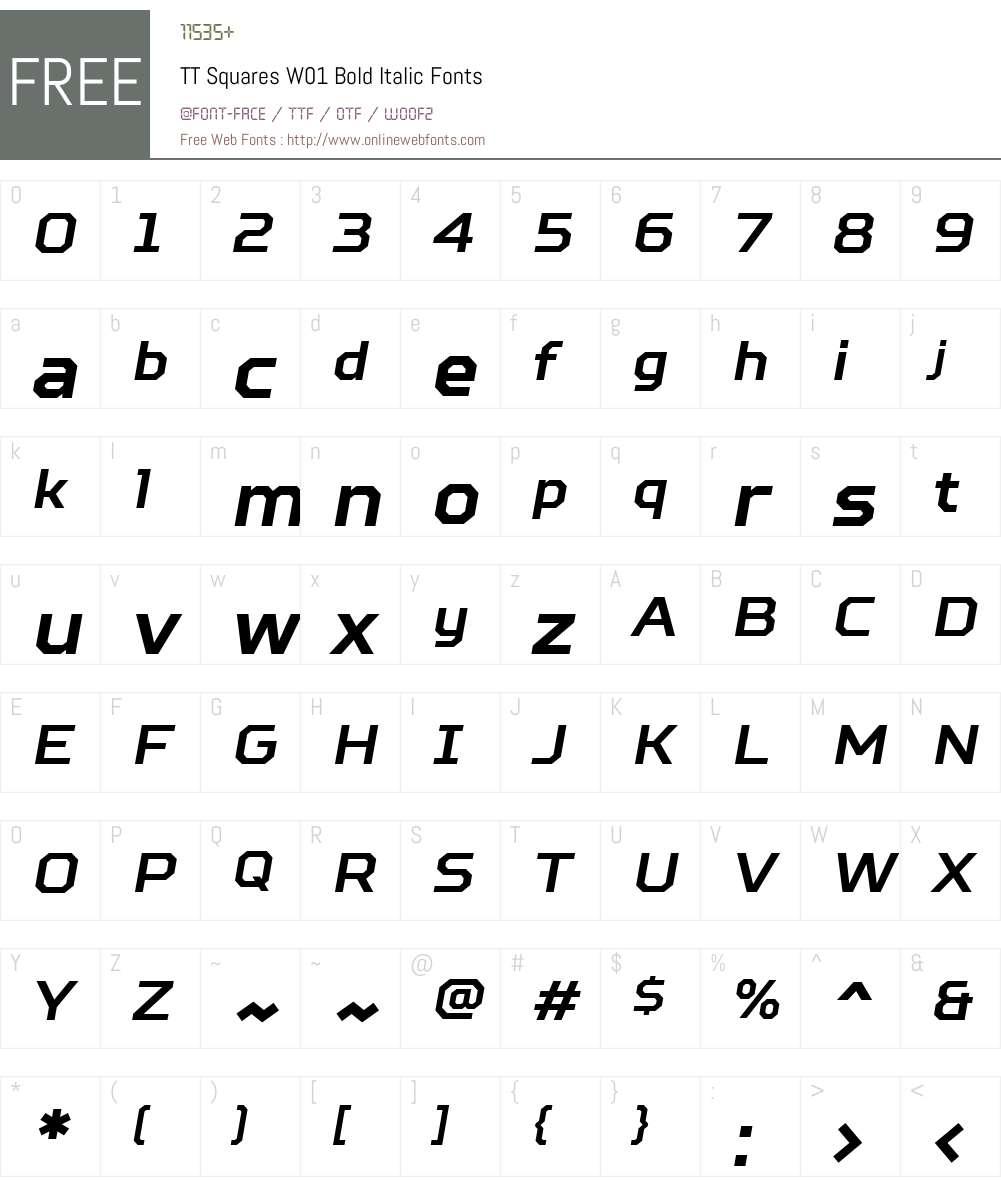 TTSquaresW01-BoldItalic Font Screenshots