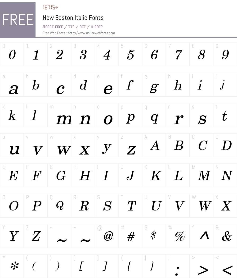 New Boston Font Screenshots