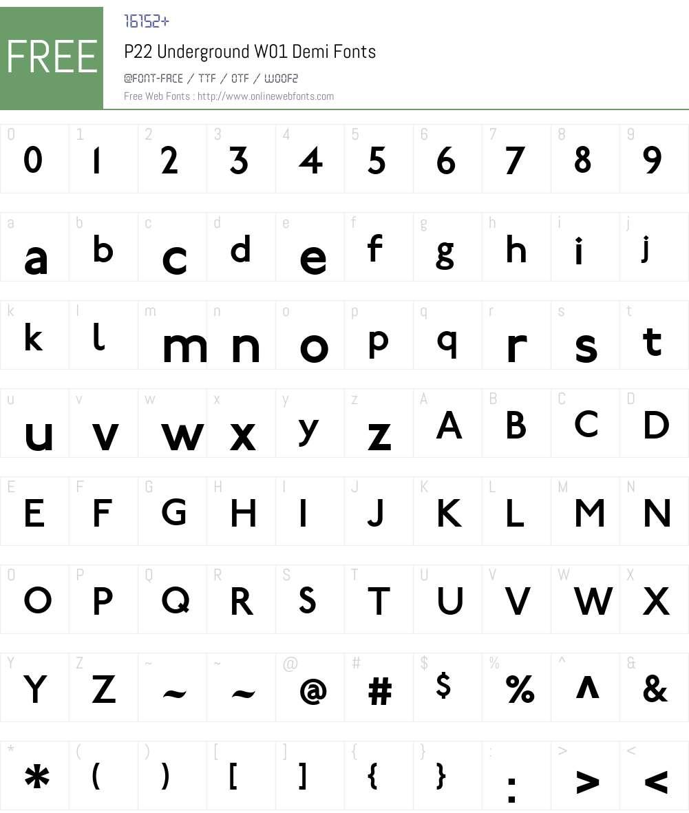 P22UndergroundW01-Demi Font Screenshots