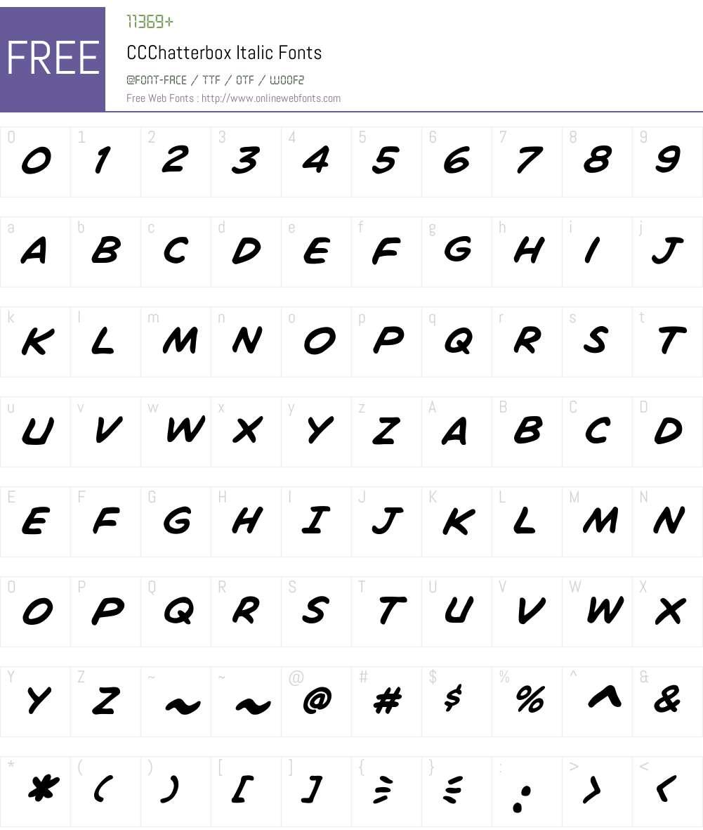 CCChatterbox-Italic Font Screenshots