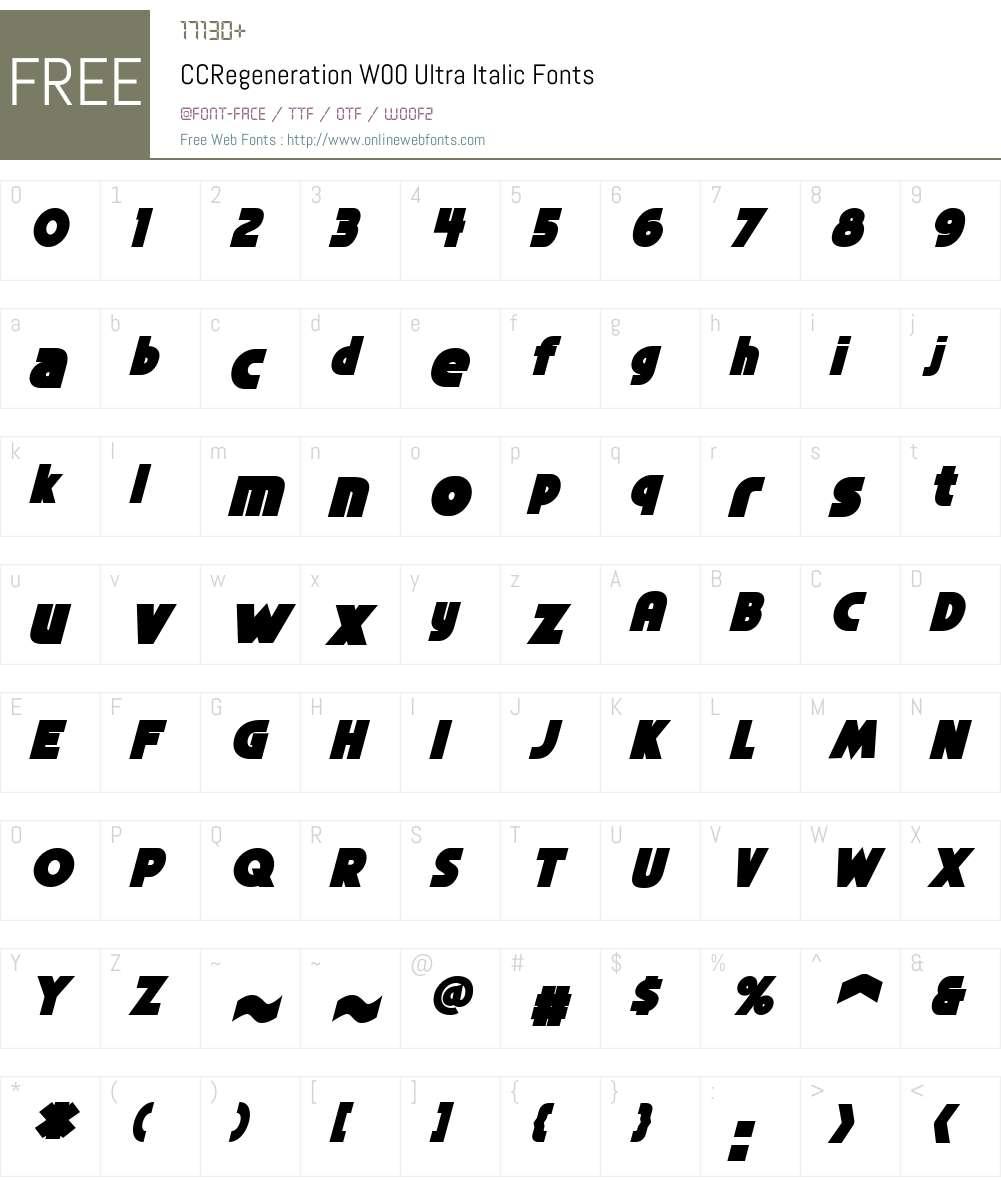 CCRegenerationW00-UltraIt Font Screenshots