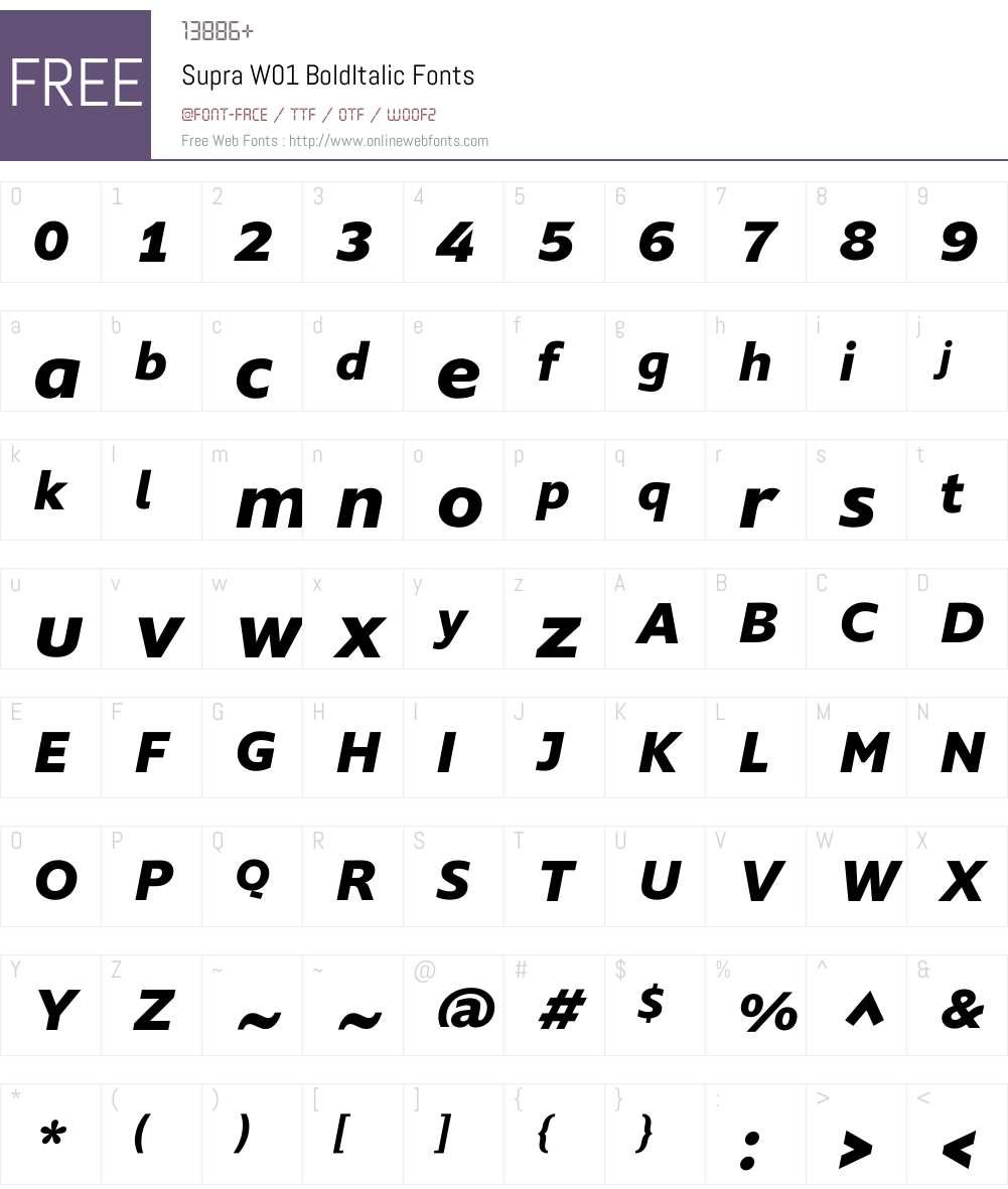 SupraW01-BoldItalic Font Screenshots