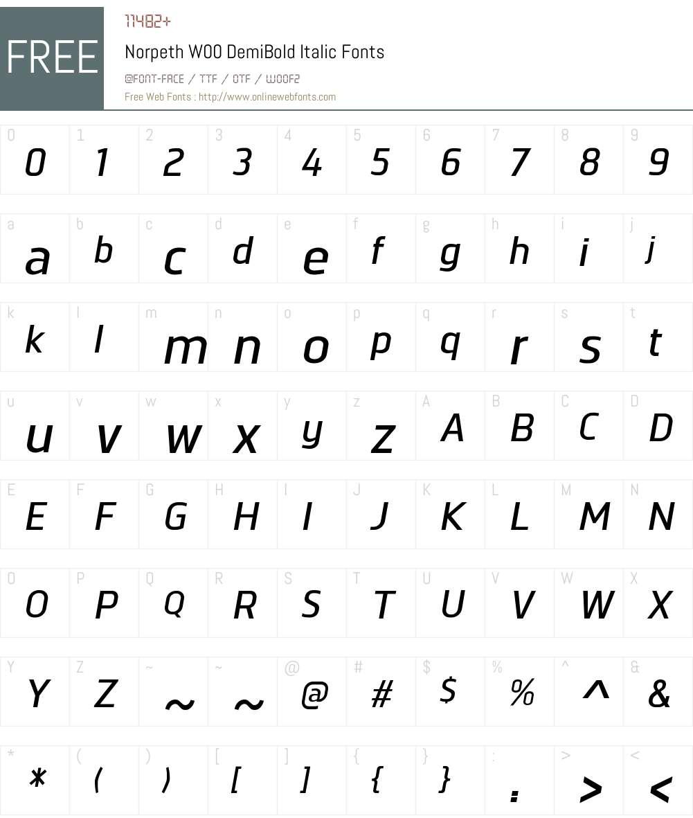 NorpethW00-DemiBoldItalic Font Screenshots