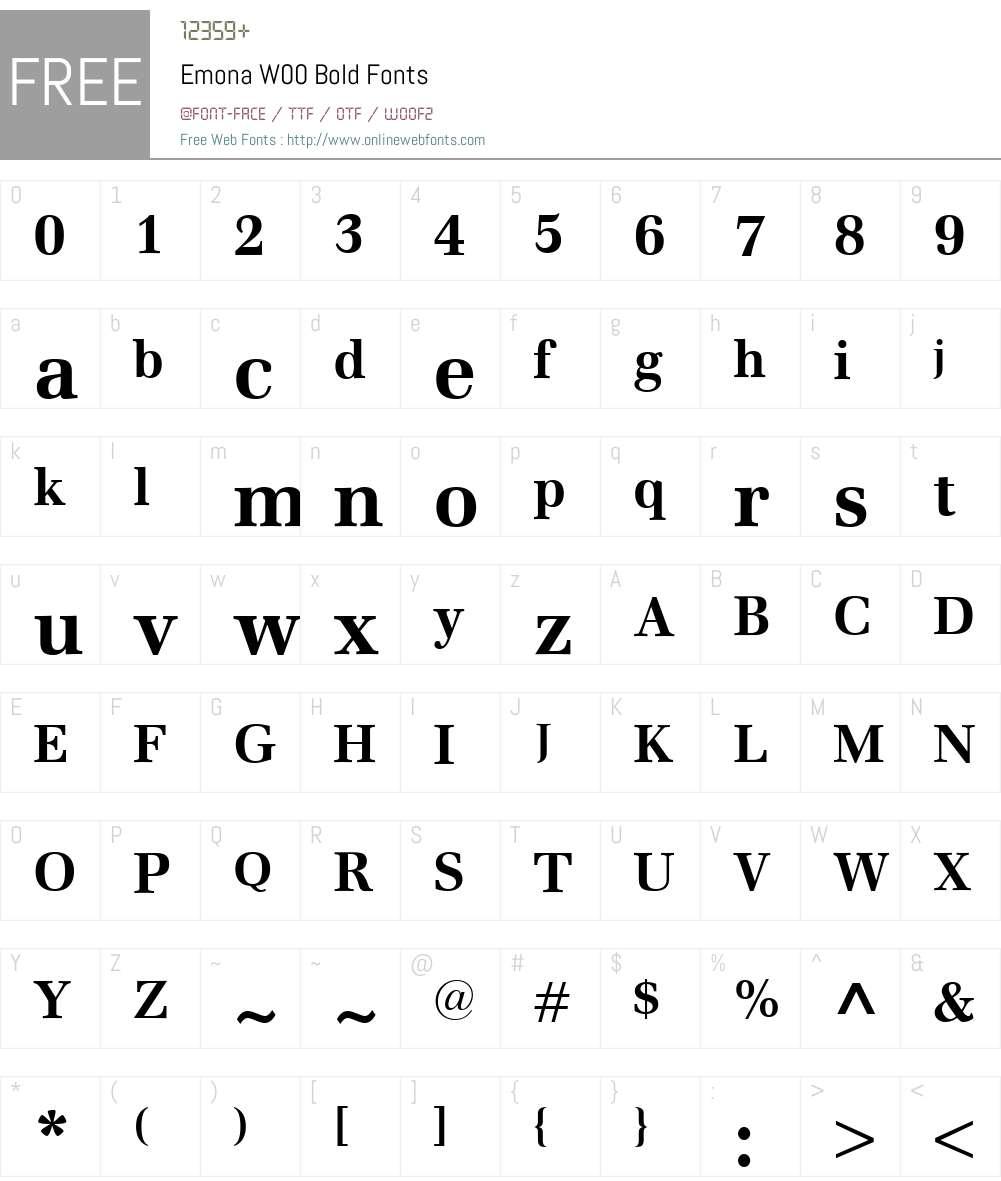 EmonaW00-Bold Font Screenshots