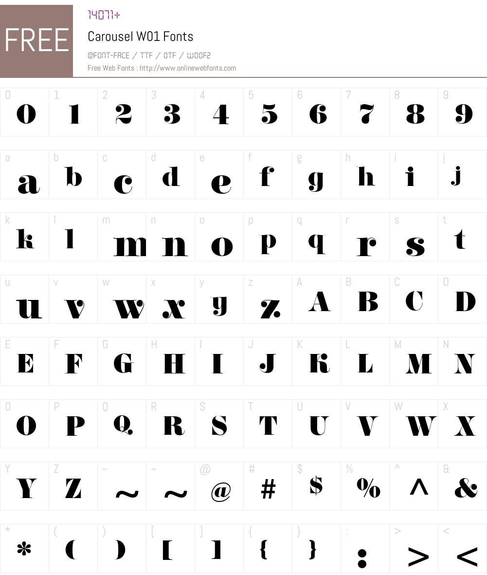 CarouselW01 Font Screenshots