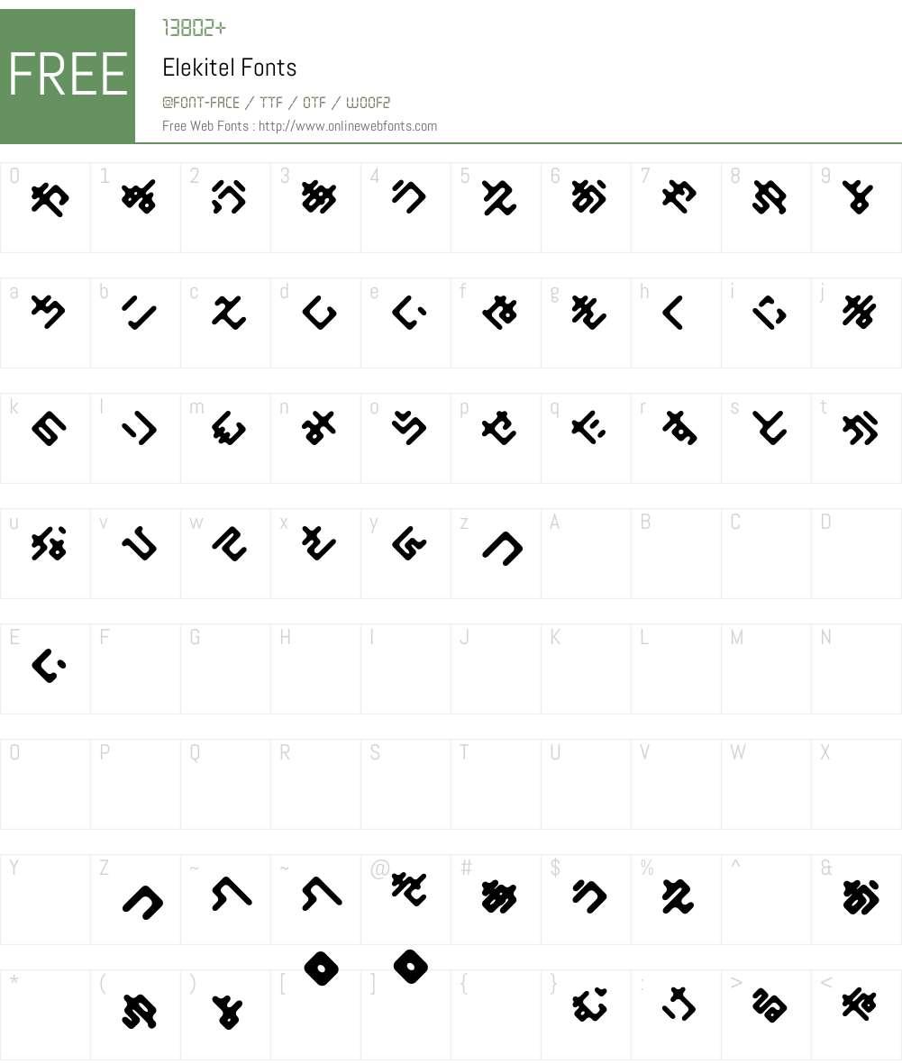 Elekitel Font Screenshots