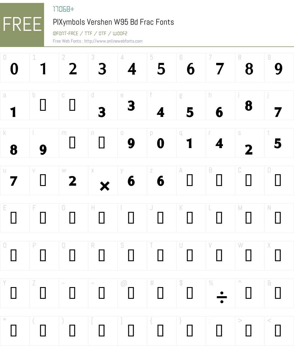 PIXymbolsVershenW95-BdFrac Font Screenshots