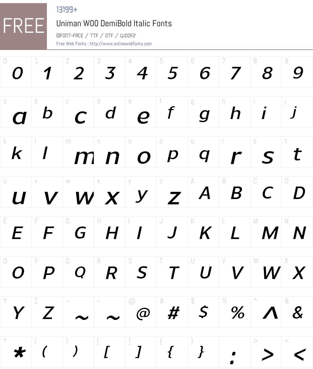 UnimanW00-DemiBoldItalic Font Screenshots