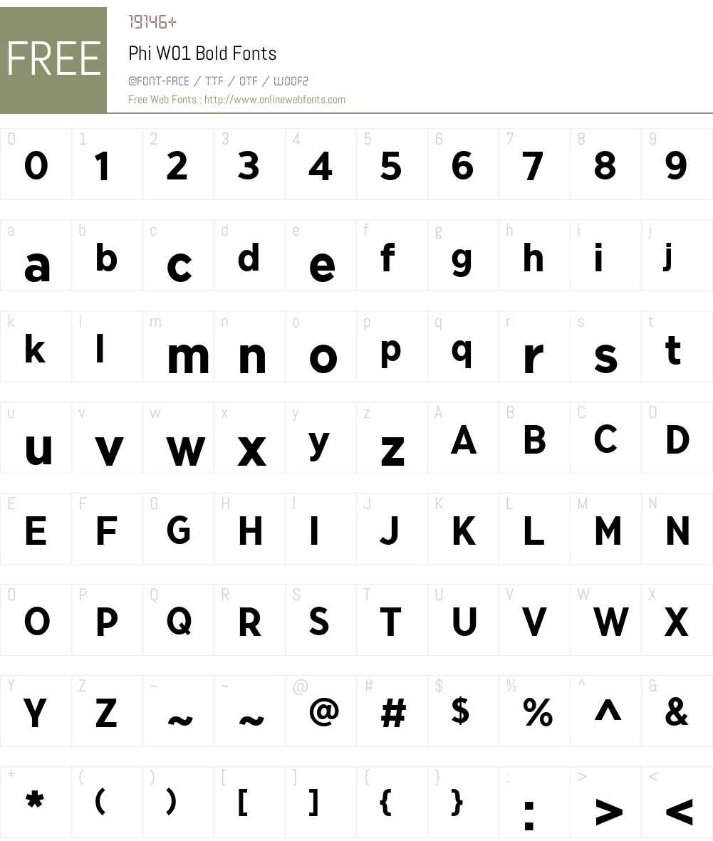 PhiW01-Bold Font Screenshots