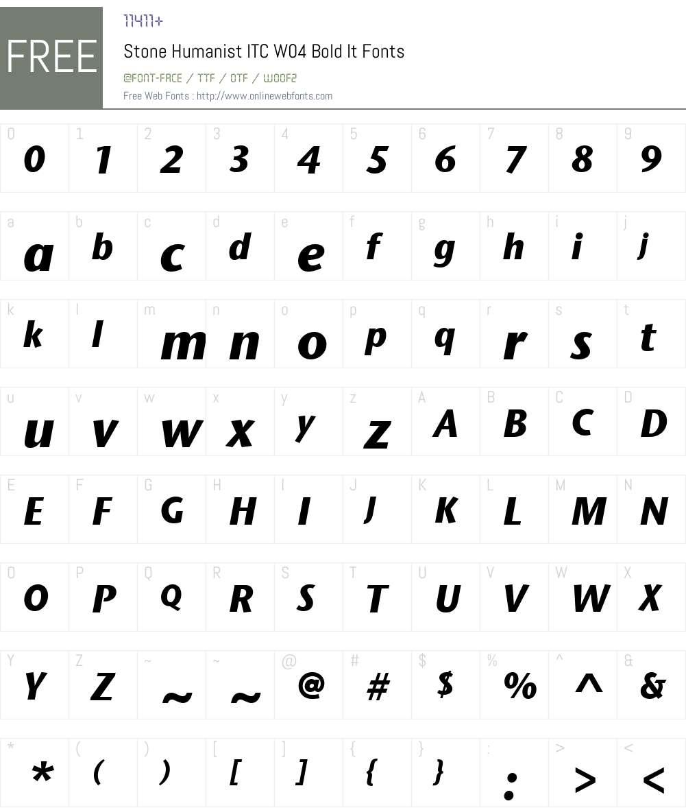 ITC Stone Humanist Font Screenshots