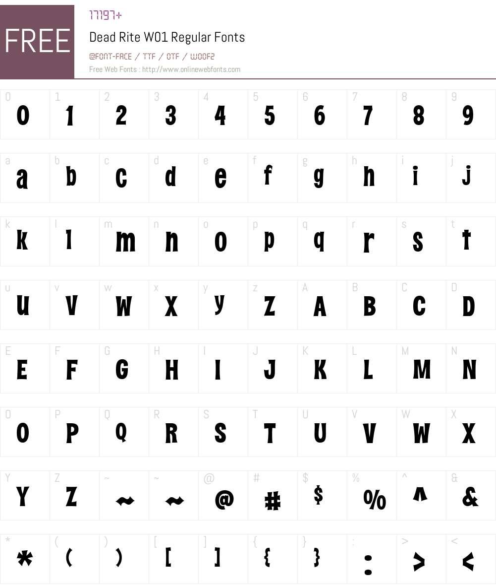 DeadRiteW01-Regular Font Screenshots