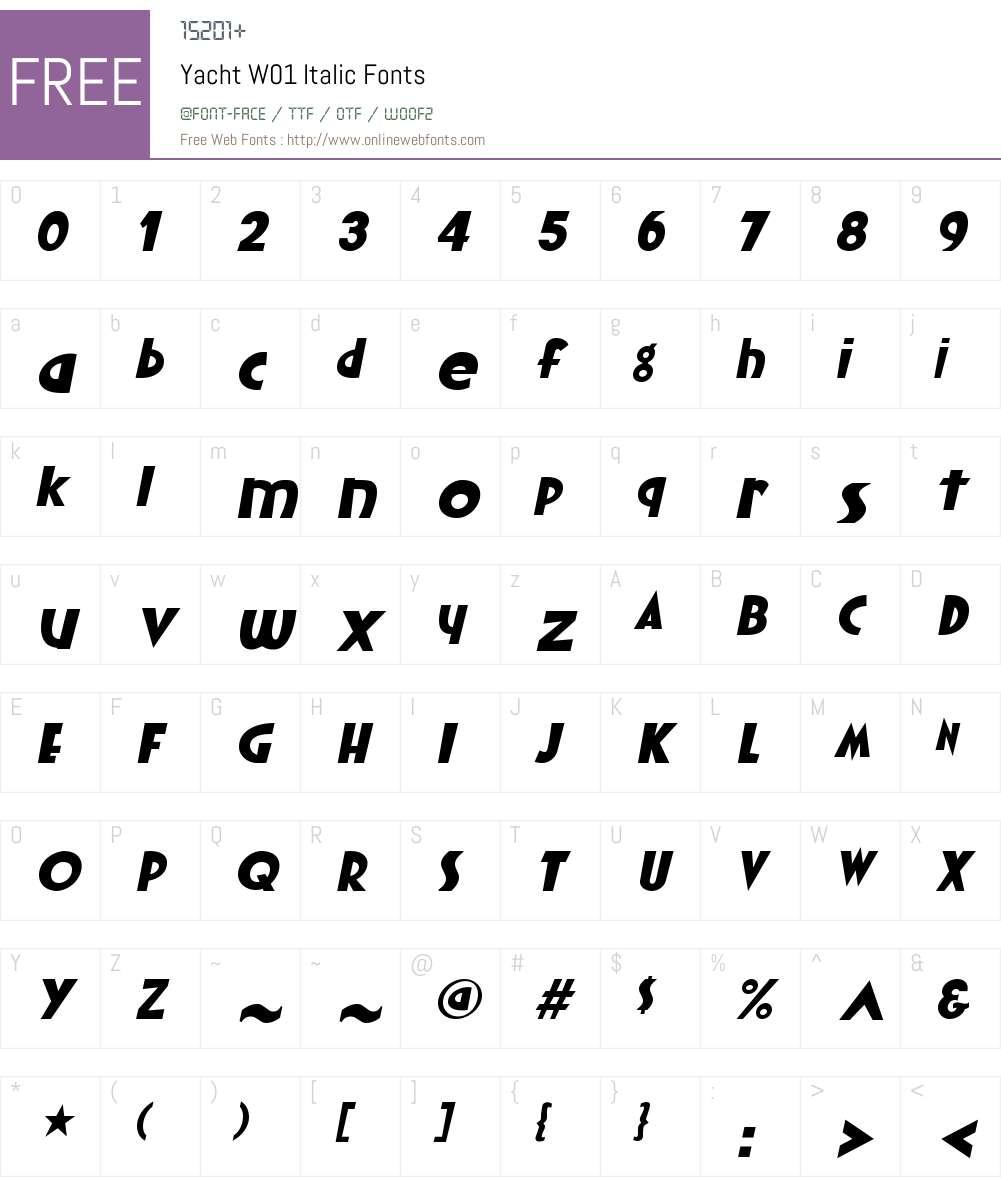YachtW01-Italic Font Screenshots