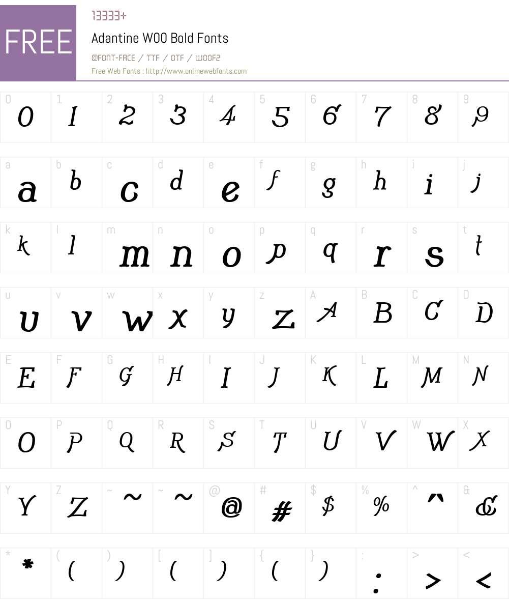 AdantineW00-Bold Font Screenshots