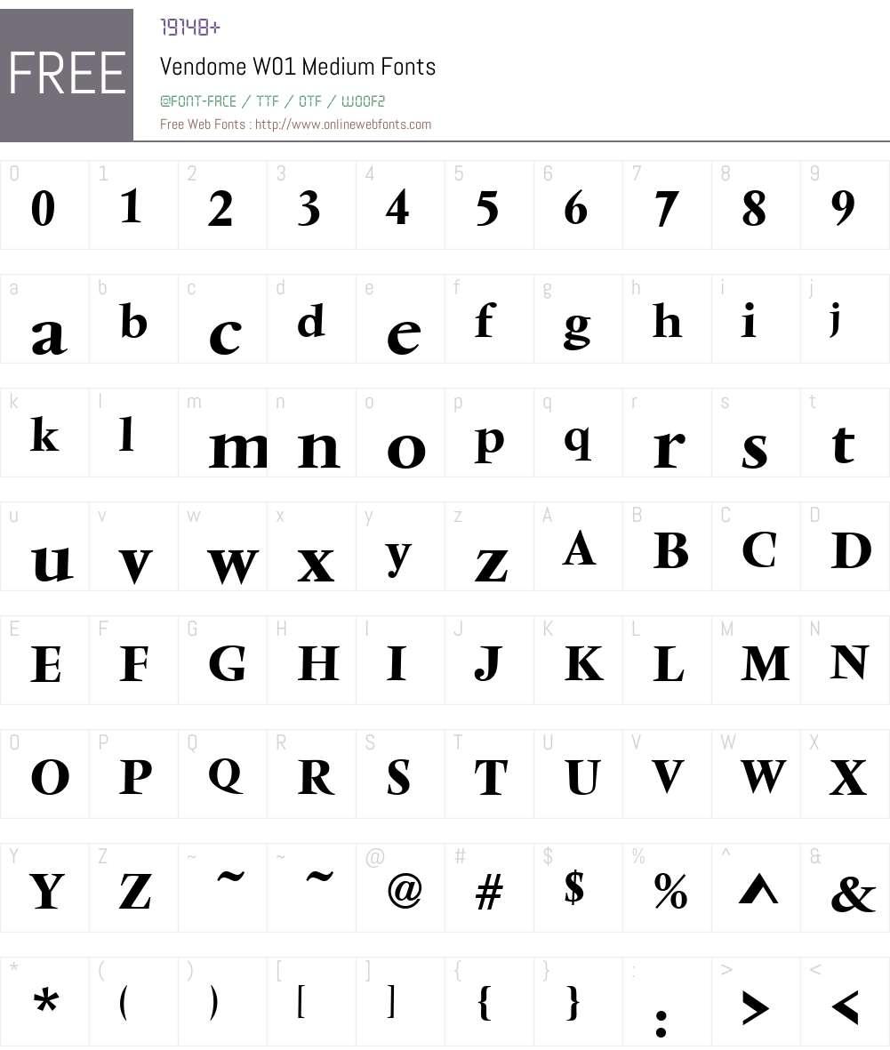 VendomeW01-Medium Font Screenshots