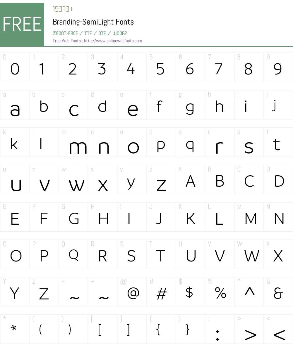 Branding SemiLight Font Screenshots