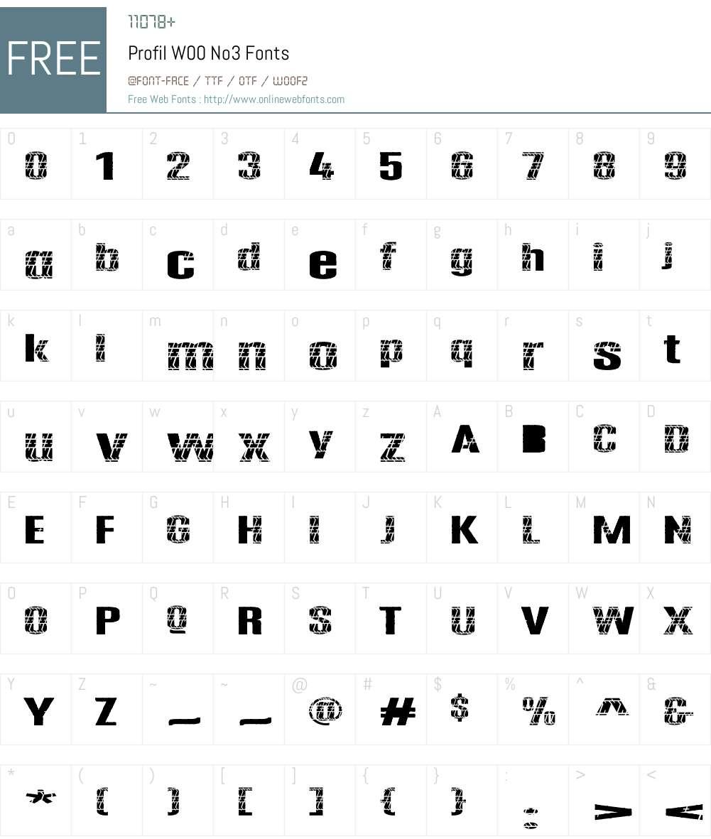ProfilW00-No3 Font Screenshots