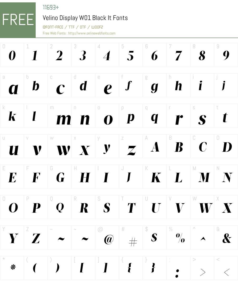 VelinoDisplayW01-BlackIt Font Screenshots