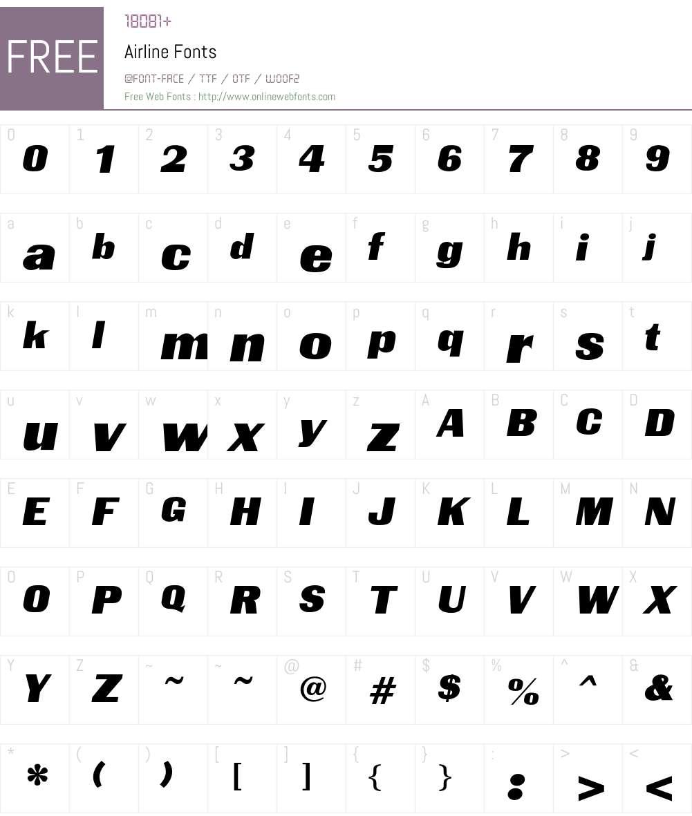 Airline Font Screenshots