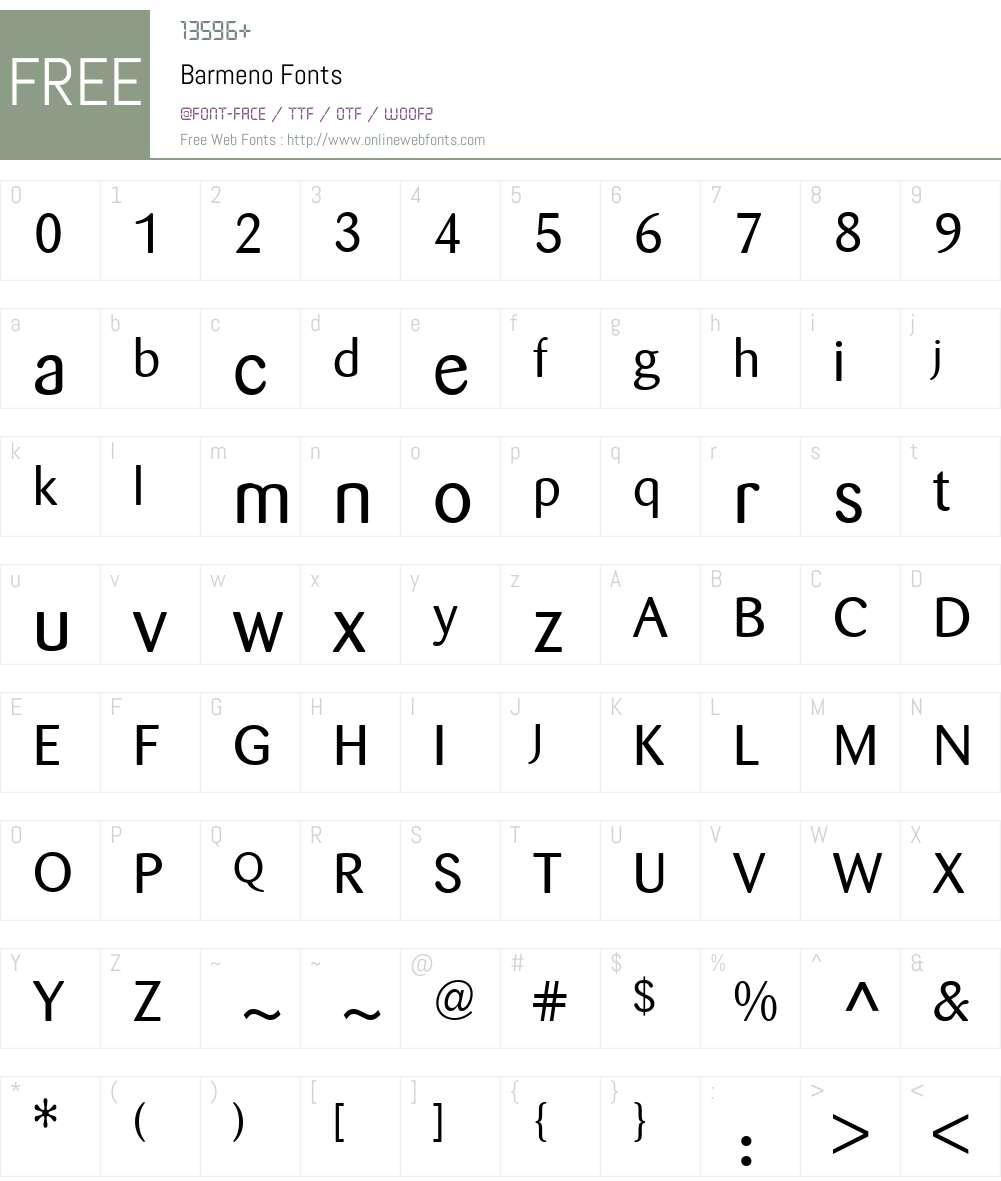 Barmeno Font Screenshots