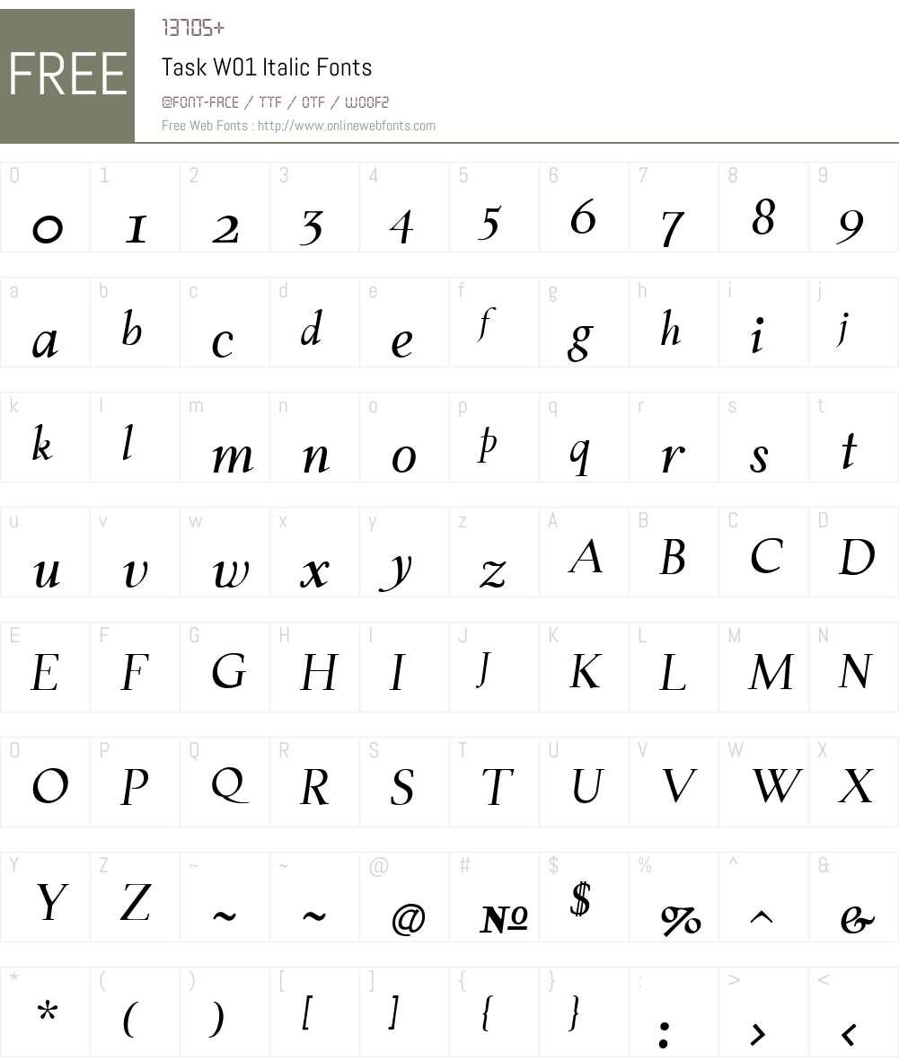 TaskW01-Italic Font Screenshots