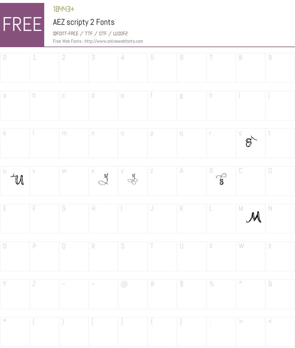 AEZ scripty 2 Font Screenshots