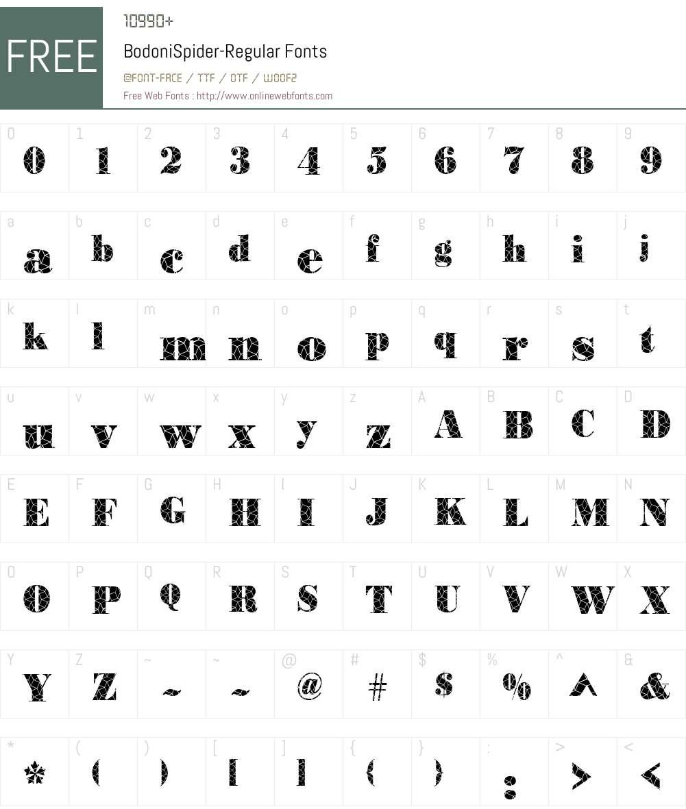 BodoniSpider Font Screenshots