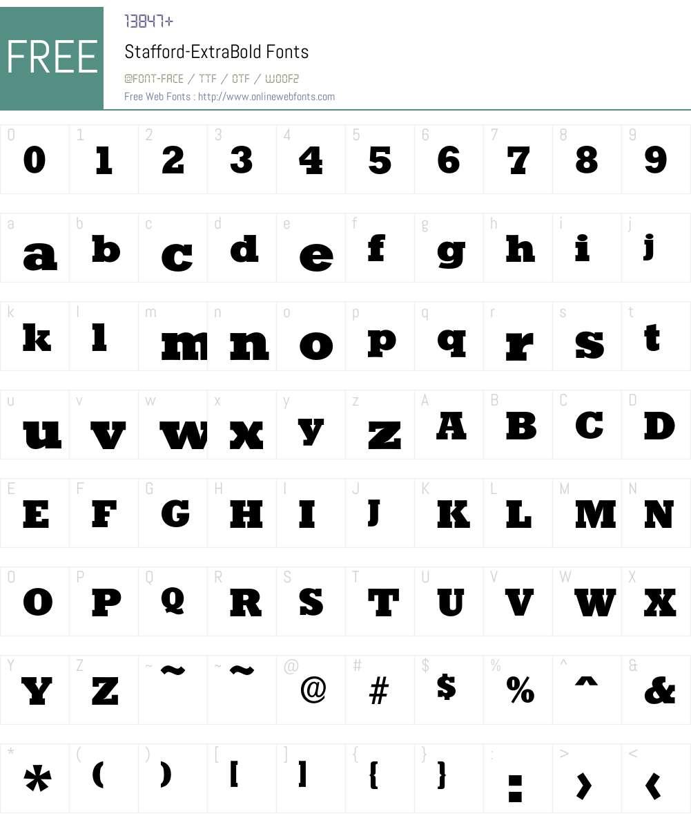Stafford-ExtraBold Font Screenshots