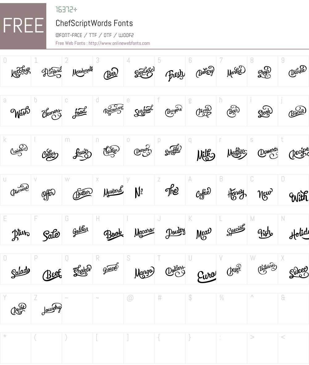 ChefScript Words Font Screenshots