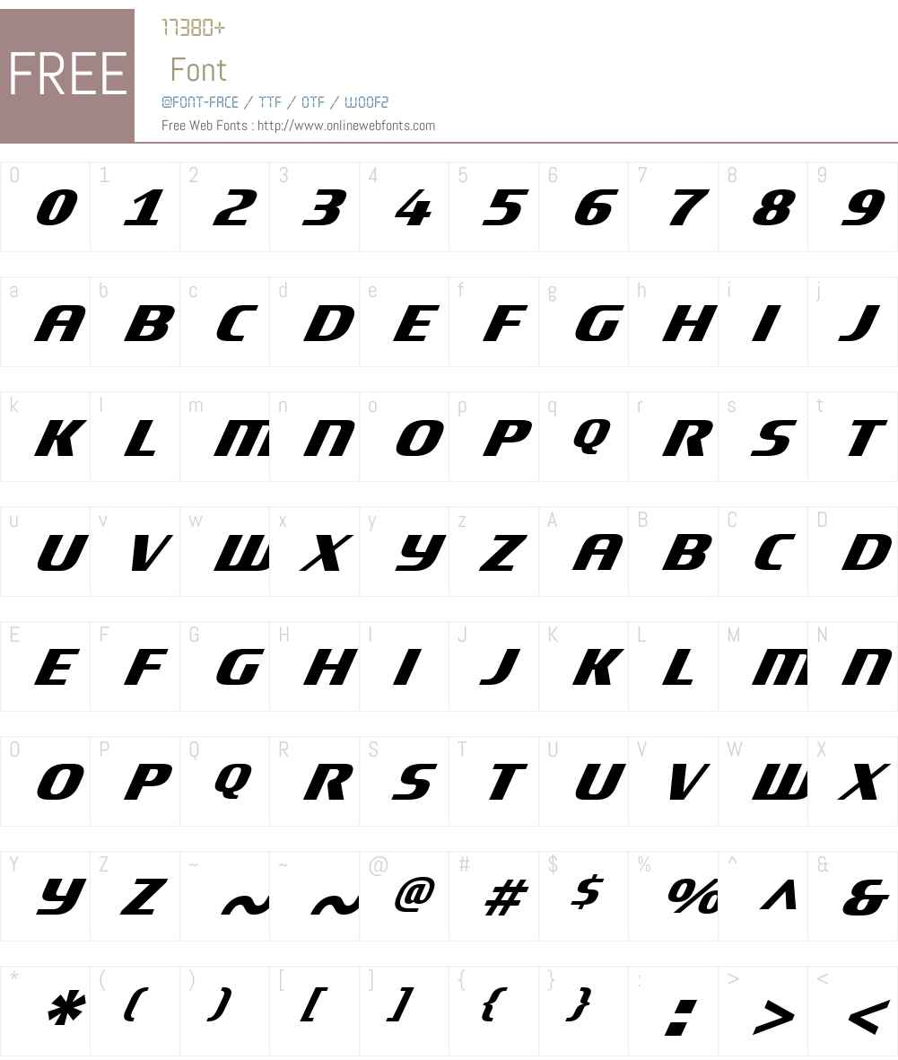 TitaniumMotorsW01-Oblique Font Screenshots