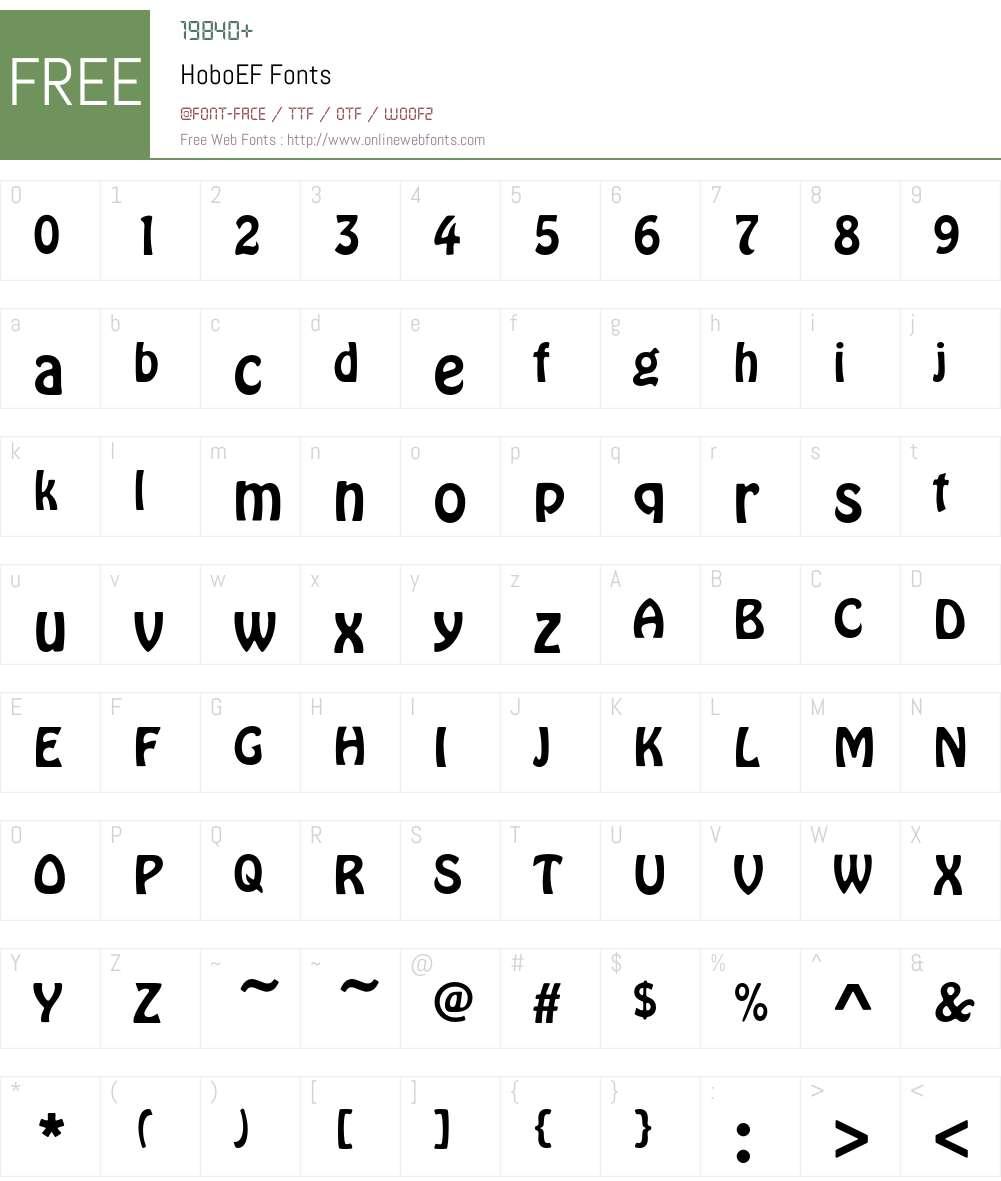 HoboEF Font Screenshots