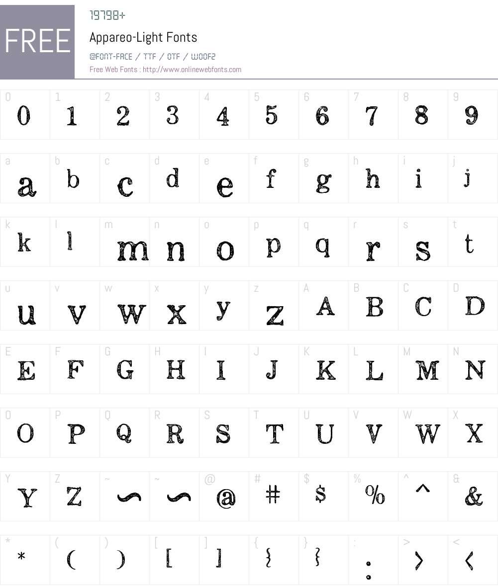 Appareo-Light Font Screenshots