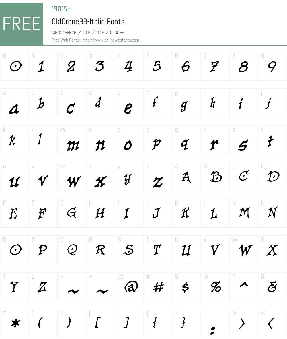 OldCroneBB-Italic Font Screenshots