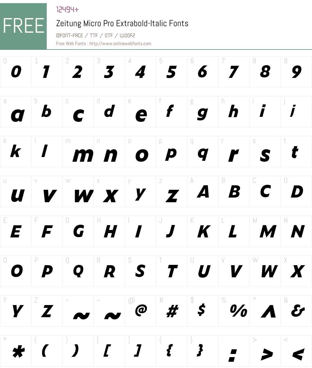 Zeitung Micro Pro Extrabold-Ita Font Screenshots