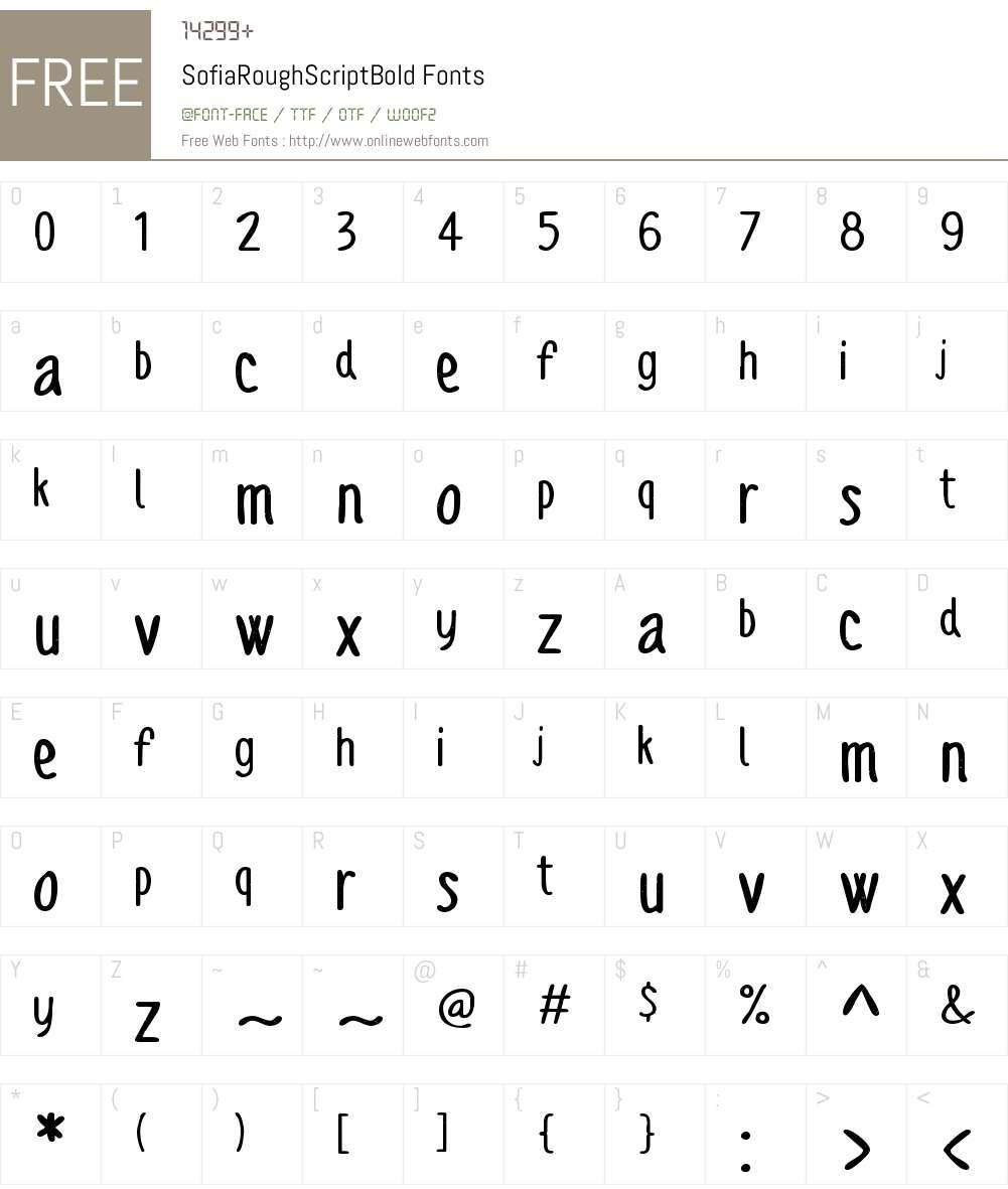 Sofia Rough Script Bold Font Screenshots