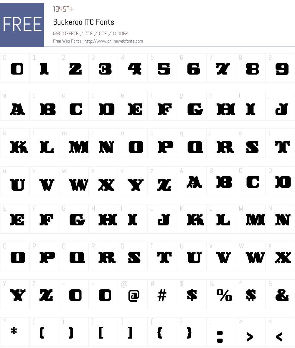 Buckeroo ITC Font Screenshots