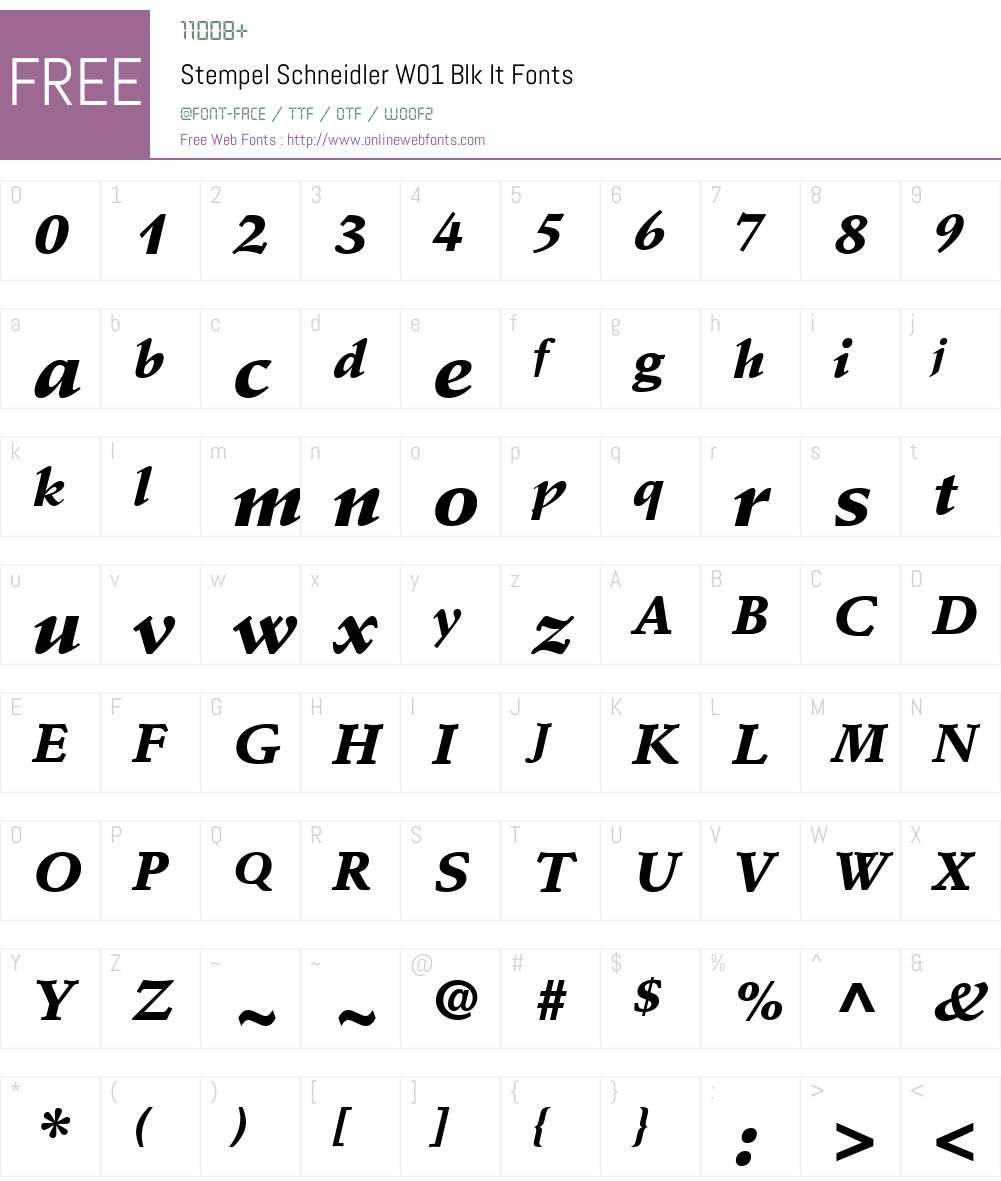 StempelSchneidlerW01-BlkIt Font Screenshots