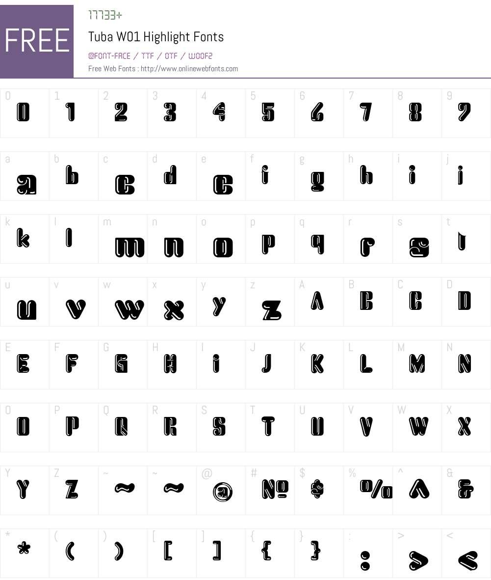 TubaW01-Highlight Font Screenshots