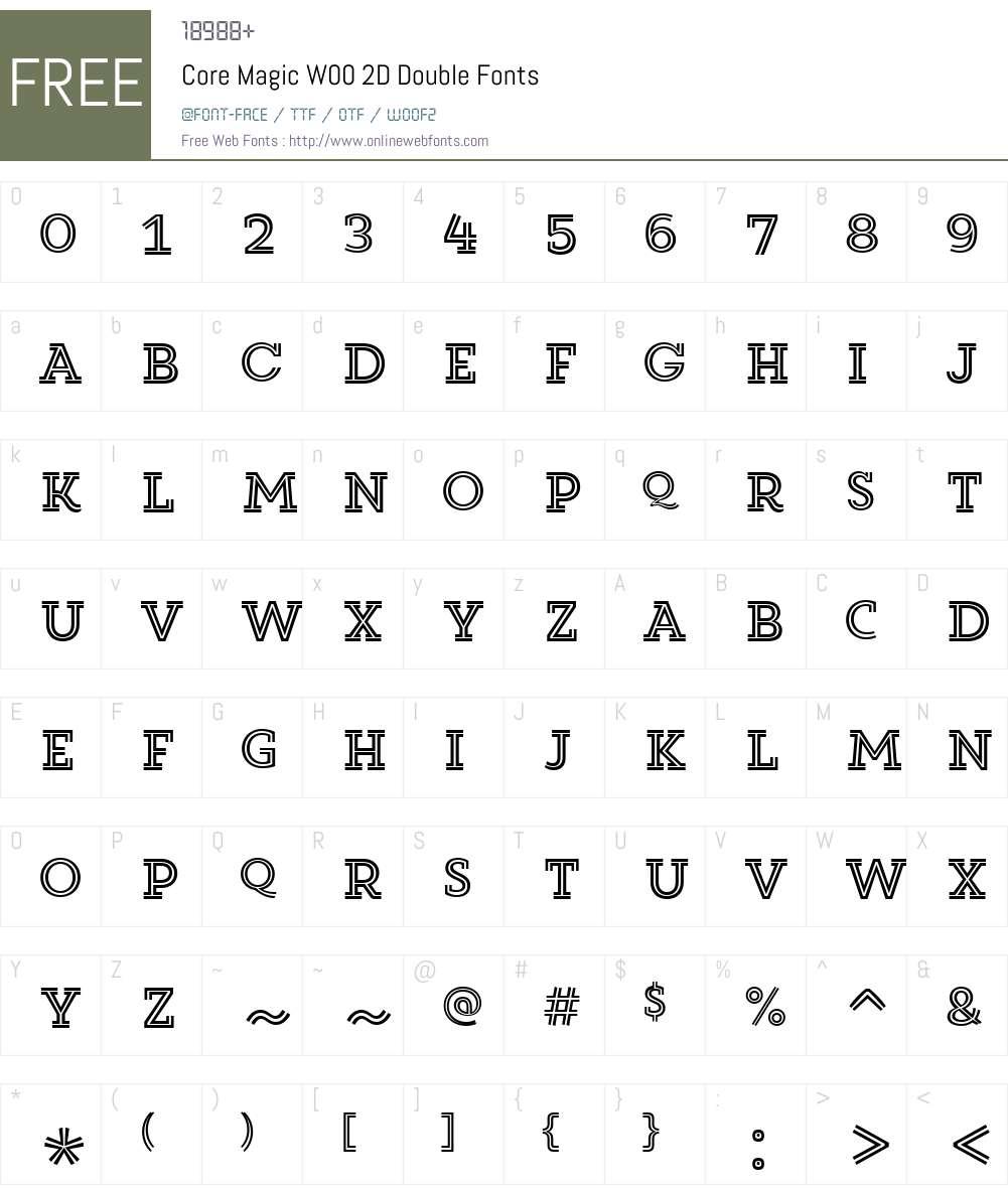CoreMagicW00-2DDouble Font Screenshots