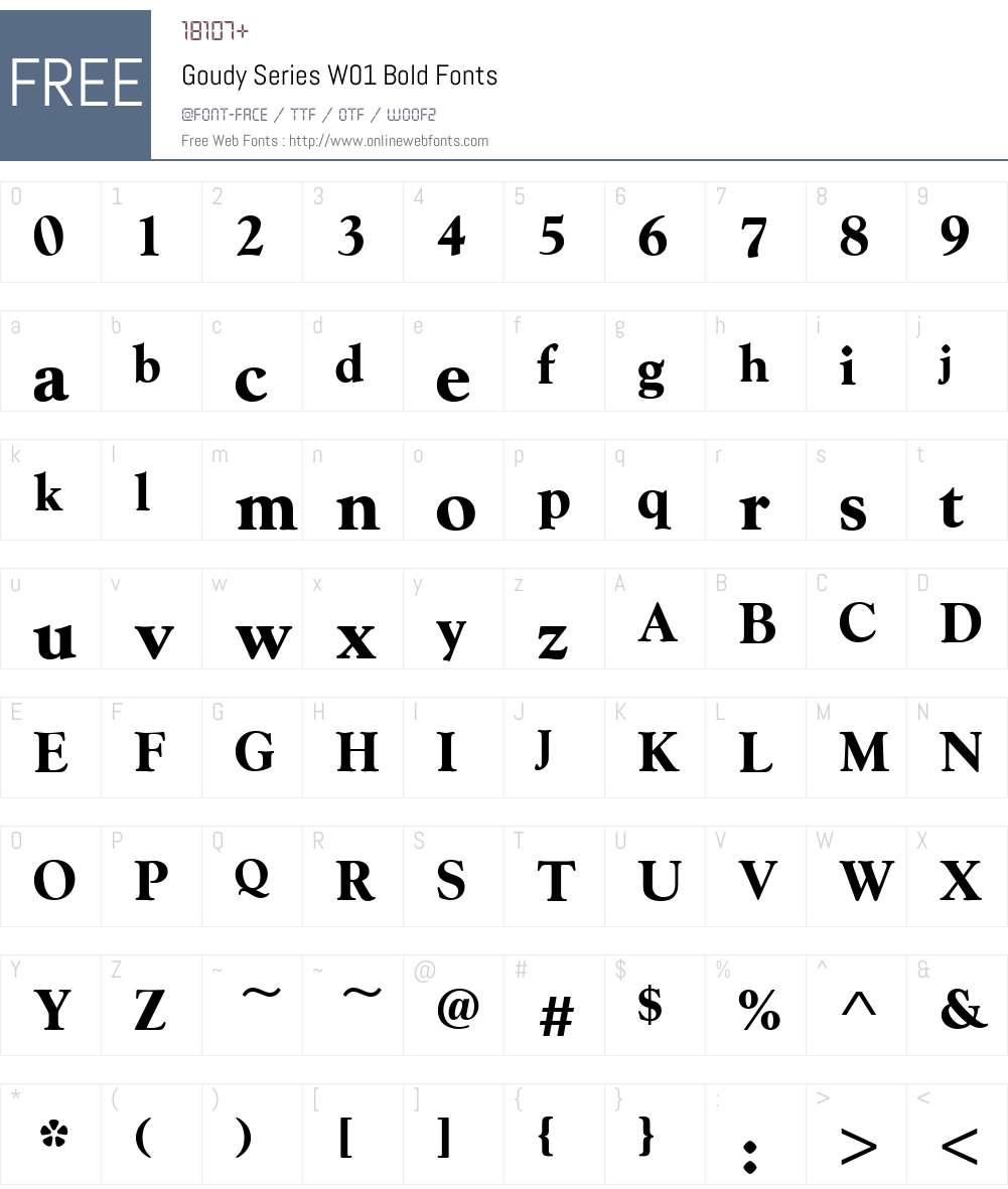 GoudySeriesW01-Bold Font Screenshots